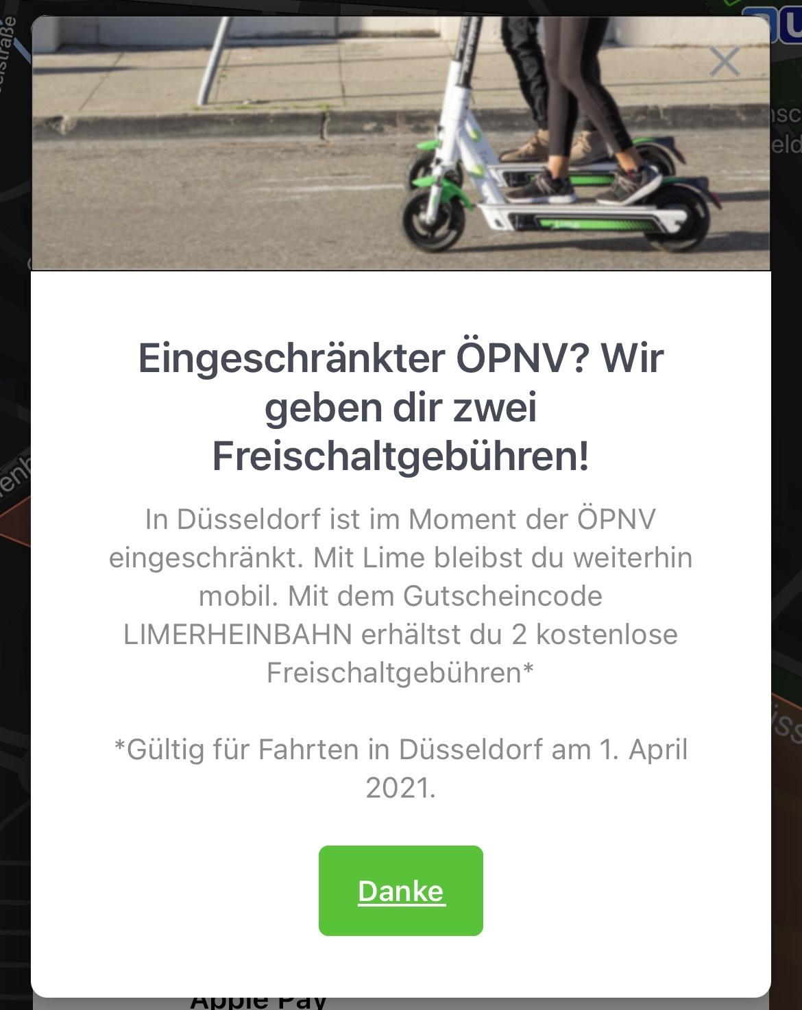 2 KOSTENLOSE FREISCHALTGEBÜHREN in Düsseldorf    Lime Scooter