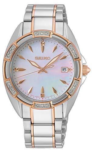Seiko Quarz Damen-Uhr Edelstahl mit Metallband, Saphirglas und Swarovski SKK878P1