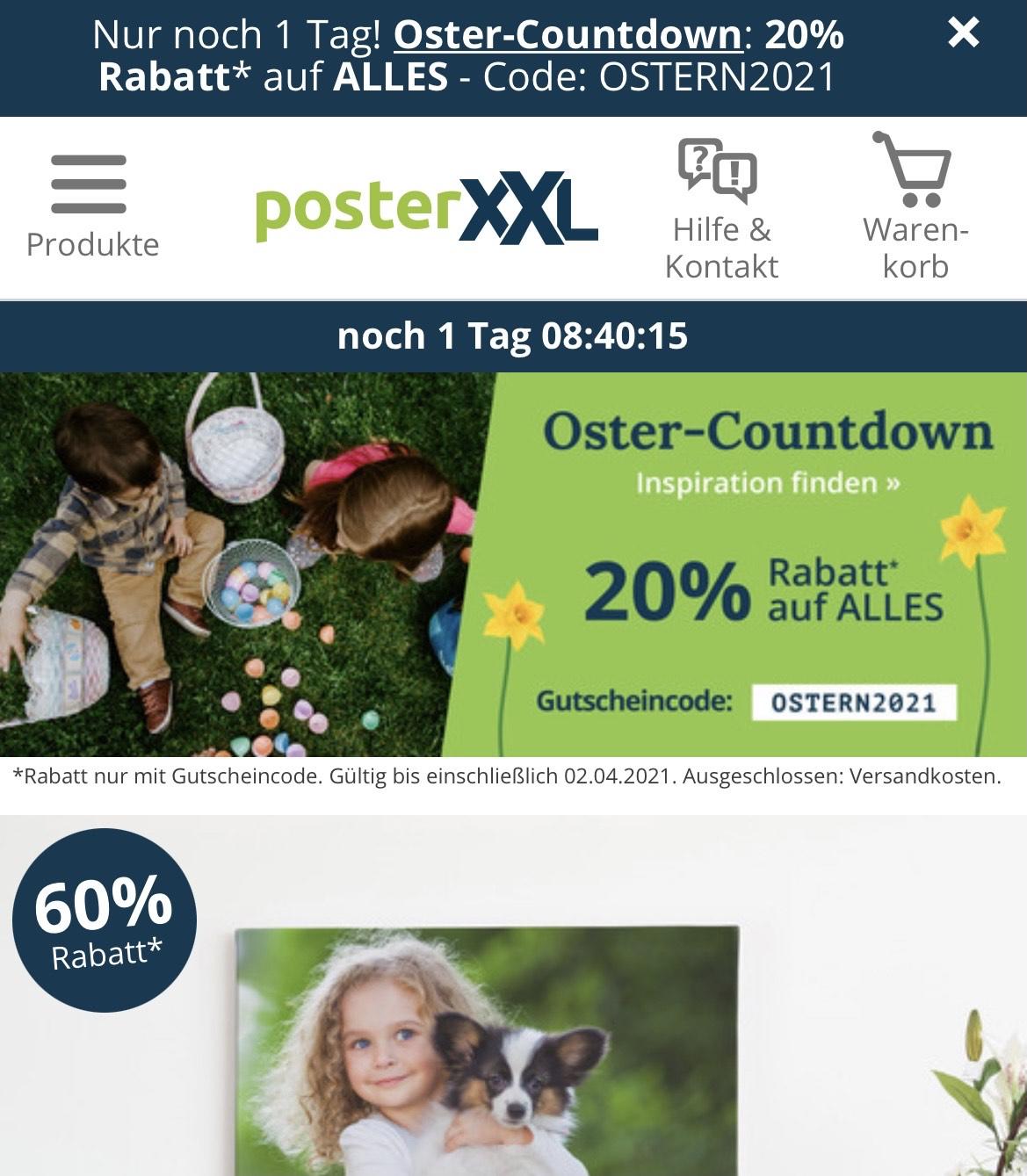 Poster XXL Osterrabatte + 20% am 1.4.2021
