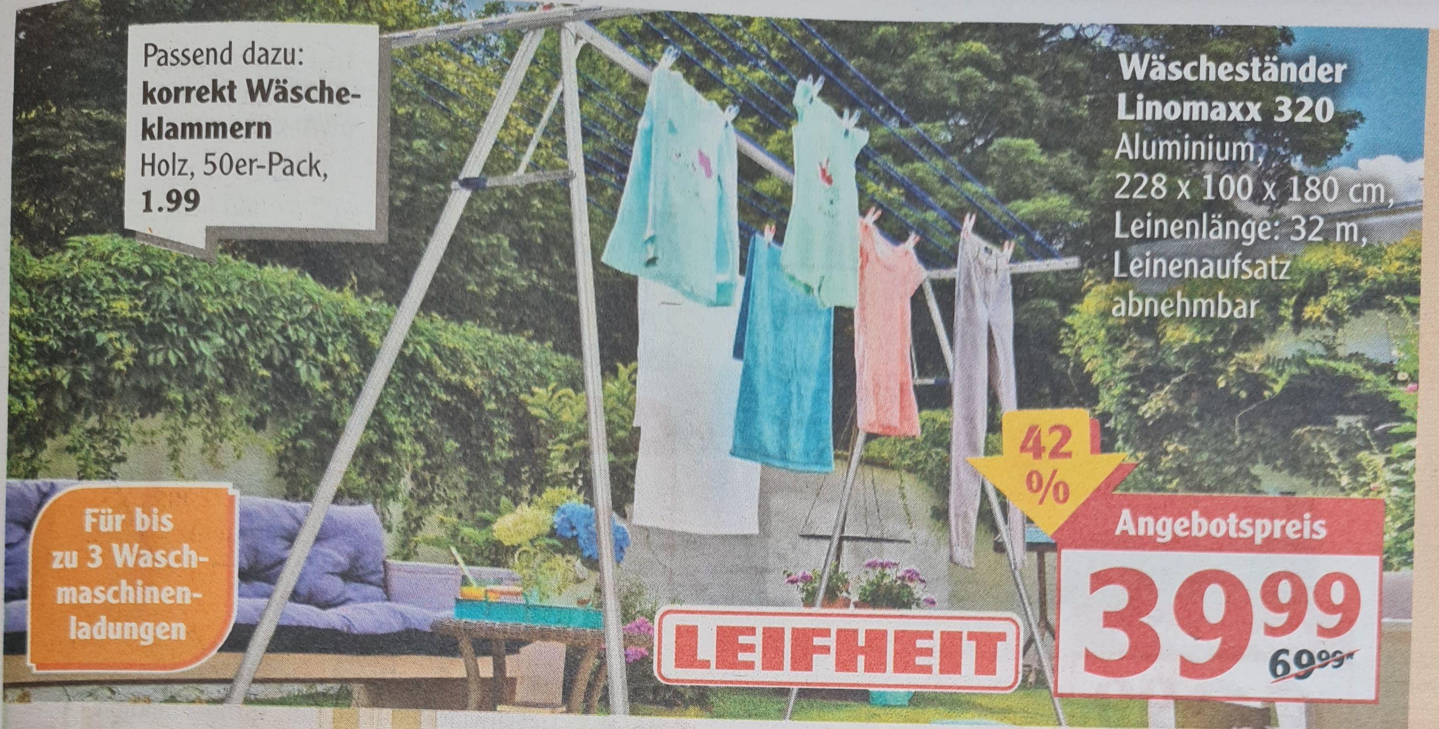 Leifheit Wäscheständer Linomaxx 320, Aluminium 228x100x180 cm, Leinenlänge 32 m, Leinenaufsatz abnehmbar ab 06.04 Globus