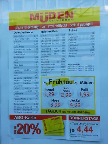 [Lokal] Mueden Reinigung Saarbrücken Hemden ab 1,11 Euro und weitere Angebote