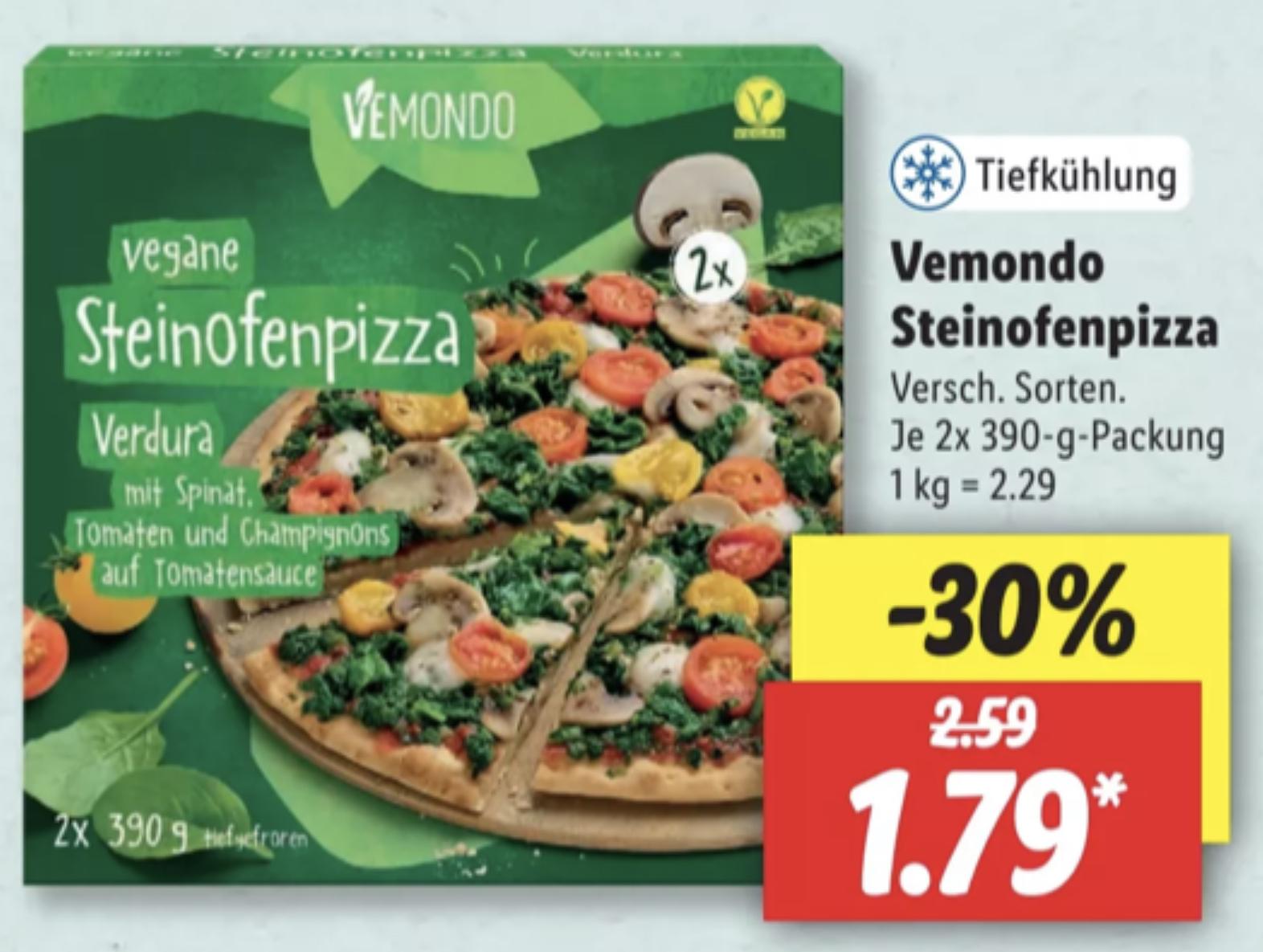 [lokal] Lidl: Vemondo vegane Steinofenpizza versch. Sorten 2 x 390g Packung für 1,79€ und weitere vegane Angebote