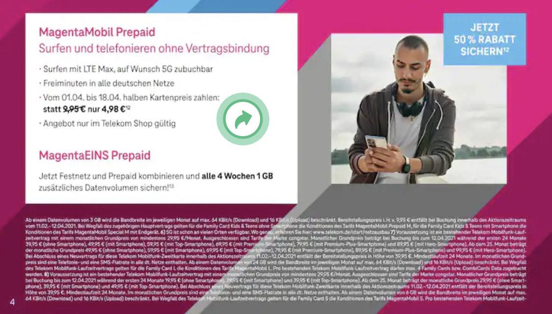 Telekom Shop (offline): 50% Rabatt auf den einmaligen Kartenpreis Prepaid M und L