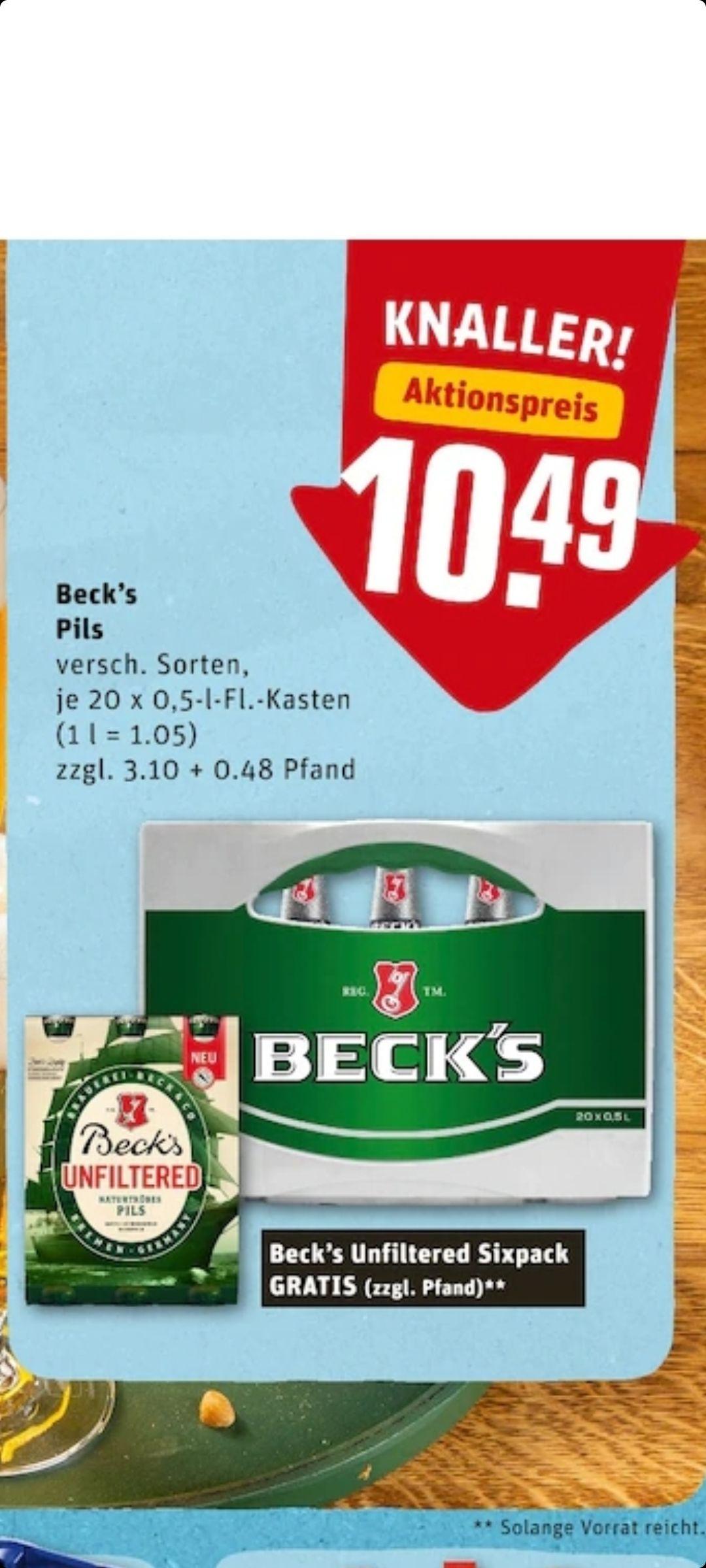 Rewe offline - Becks 20*0,5 oder 24*0,33 + Sixpack Becks unfiltered gratis (Lokal RLP, SAL, NRW?)