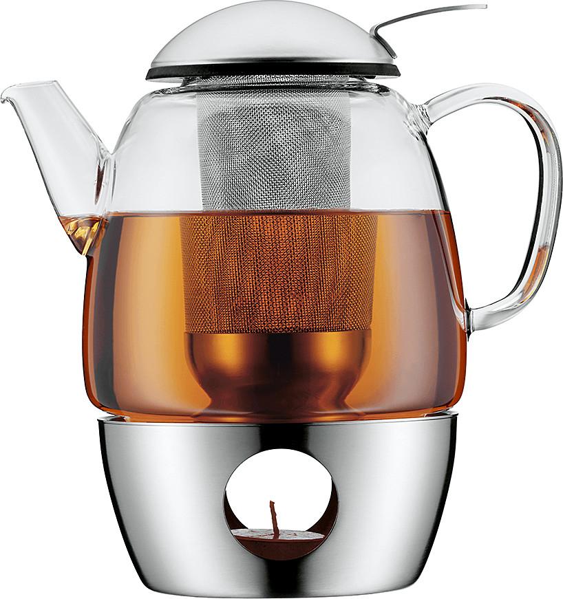 [XXXLutz.de] WMF SmarTea Teekanne mit Stövchen (3-teilig, Edelstahl, Glaskanne 1,0l mit Siebeinsatz, spülmaschinegeeignet)