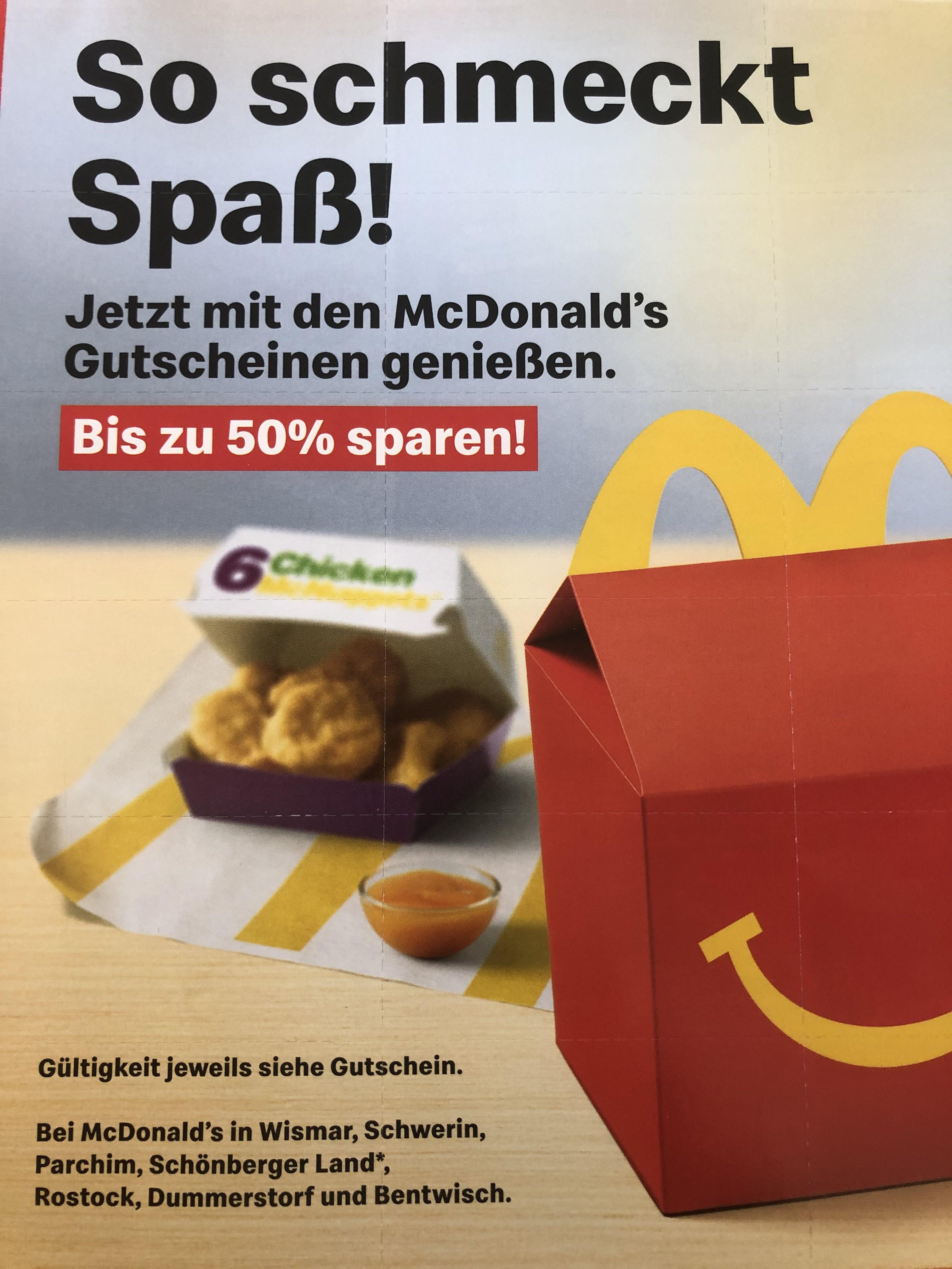 [lokal Mecklenburg] McDonalds 2x McRib für 4,39€ & weitere Gutscheine...