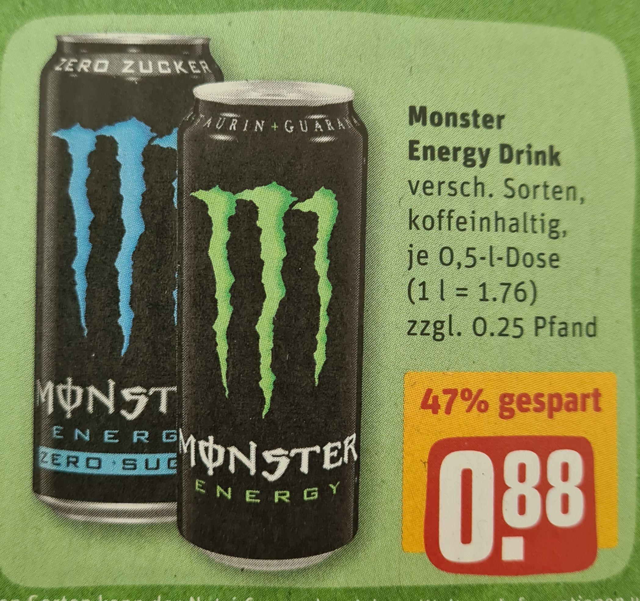 [Rewe] Monster Energy Drink, diverse Sorten, 0,88€ pro Dose zzgl. Pfand