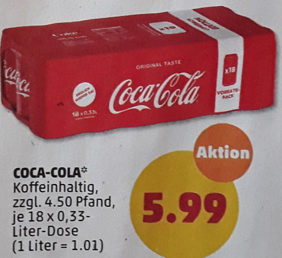 Coca-Cola 18 Dosen je 0,33l für 5,99 € (33,3 Ct je Dose) zzgl. 4,50 € Pfand @ Penny ab 06.04.