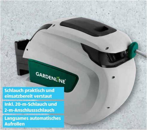 GARDENLINE Automatischer Schlauchaufroller mit 20m Schlauch für 49,99 Euro [Aldi]