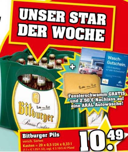 [Trinkgut/Regional]: Kasten Bitburger Bier für 10,49€ zzgl. 2,50€ ARAL-Waschguthaben + Fensterschwamm