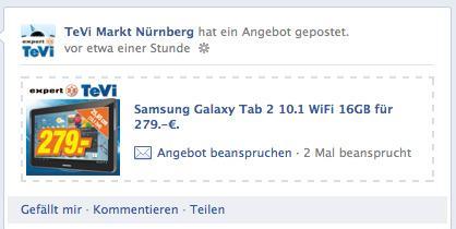 [LOKAL] expert TeVi Nürnberg: Samsung Galaxy Tab 2 10.1 WiFi 16GB für 279.-€.