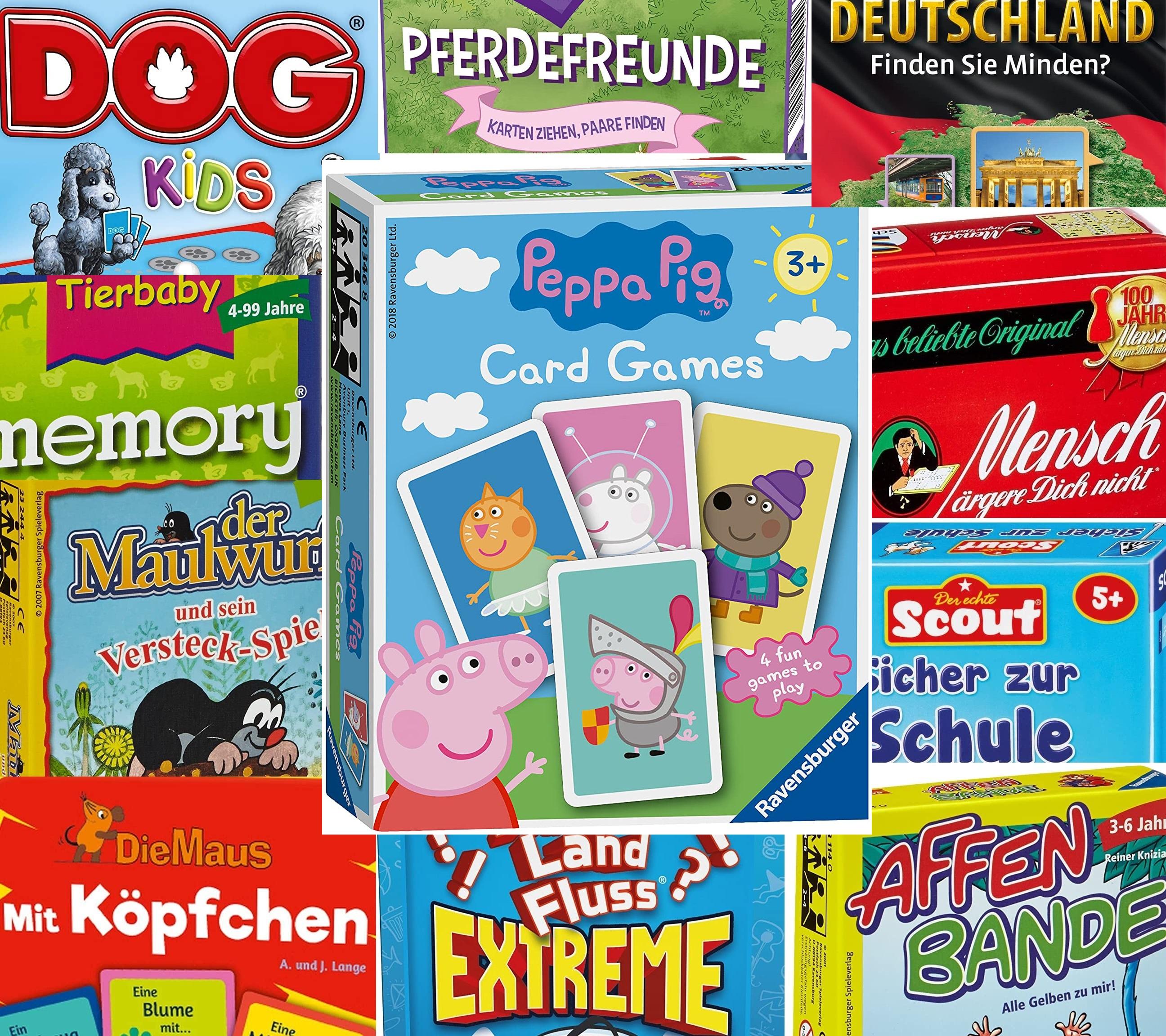 [Prime] Mitbringspiele Sammeldeal (19), Billy Biber, Stadt Land Fluss, Bingo, Dog Kids etc. z.B. Peppa Pig Kartenspiel