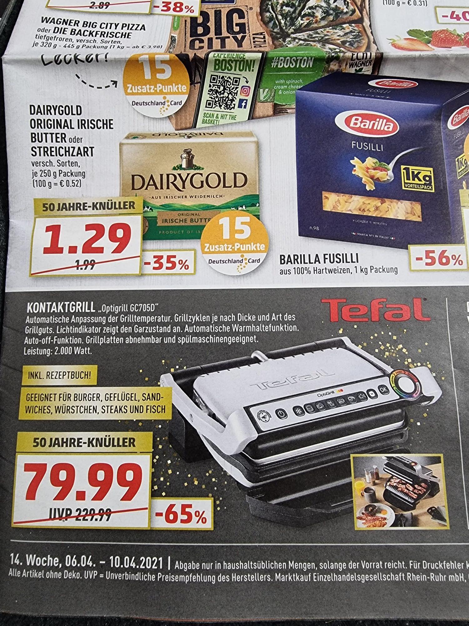 Kontaktgrill Tefal Optigrill GC705D mit Rezeptbuch im Marktkauf Bielefeld