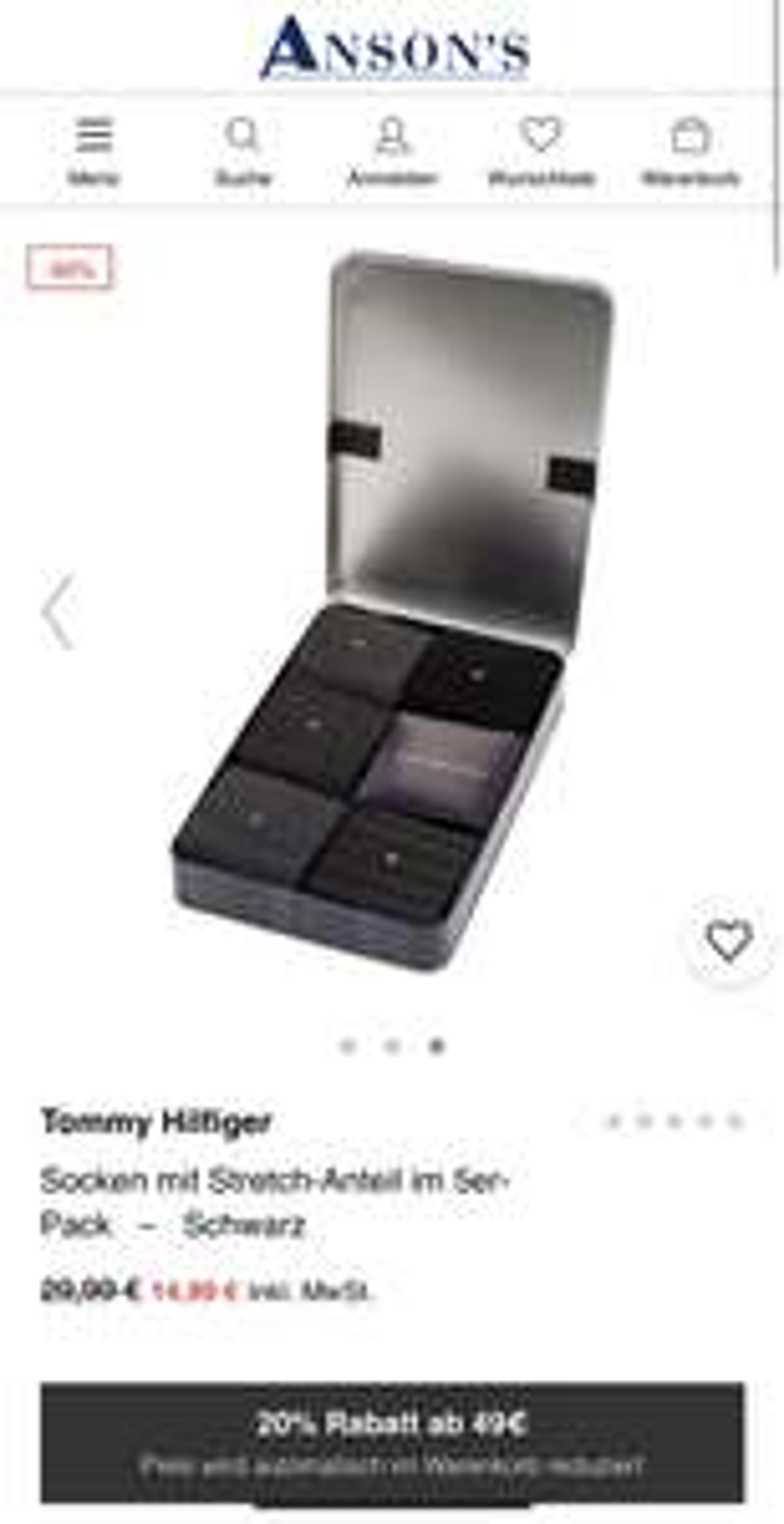 [ansons.de] Tommy Hilfiger - Socken mit Stretch-Anteil im 5er-Pack–Schwarz