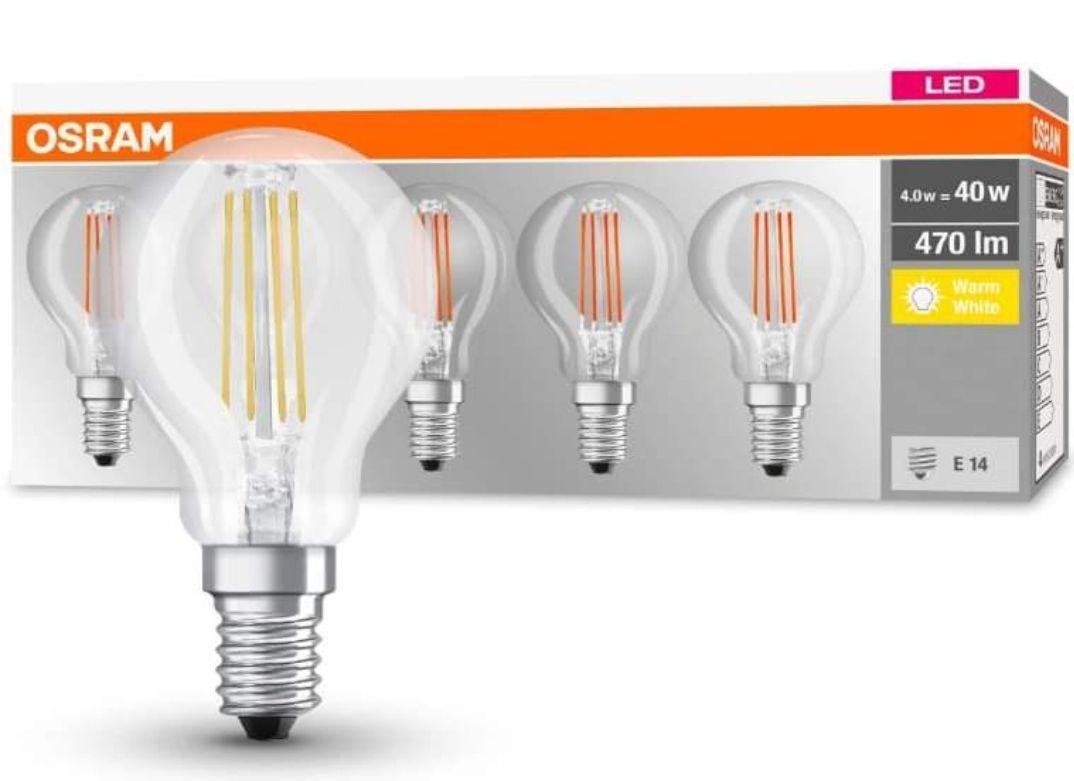 Osram LED Base Classic P Lampe, Sockel: E14, Warm White, 2700 K, 4 W, Ersatz für 40-W-Glühbirne, klar ,5er pack [PRIME]