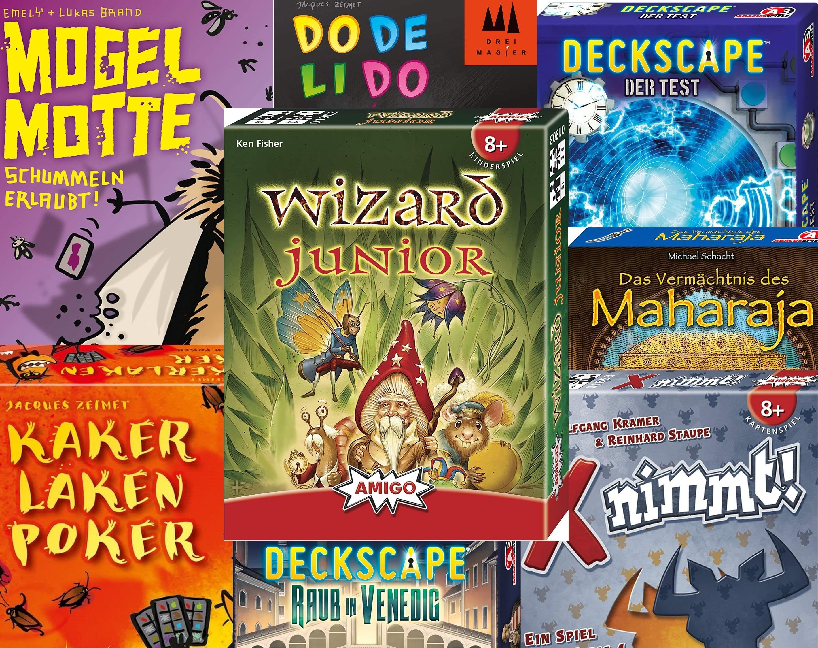[Prime] Kartenspiele Sammeldeal (8), Dodelido, Mogel Motte, Kakerlakenpoker, X Nimmt, Wizard Junior z.B. AS Deckscape - Der Test (BGG 6,7)
