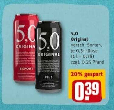 [rewe] 5,0 Original Dosenbier 0,5l für 0,39€ (-20%)