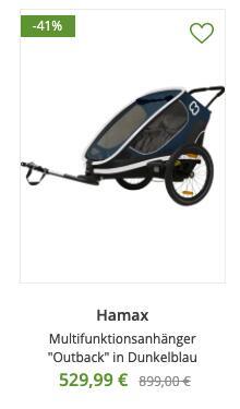 """Hamax Outback 2 Fahrradanhänger in navy, grey, red charcoal für 509,94€ und """"Outback One"""" für 479,94€"""