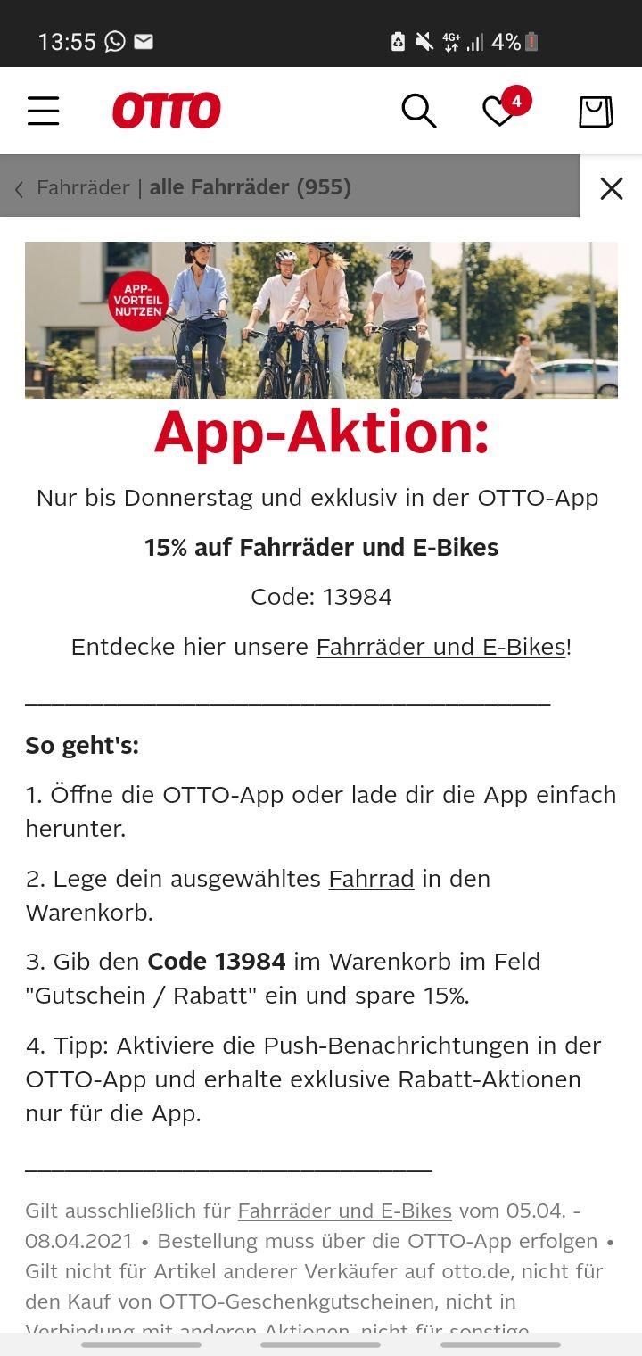 [OTTO APP] 15% Rabatt auf Fahrräder und E-Bikes