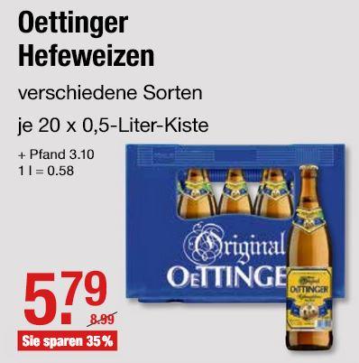 [V-Markt] Oettinger Weißbier / Hefeweizen (20 x 0,5 l)