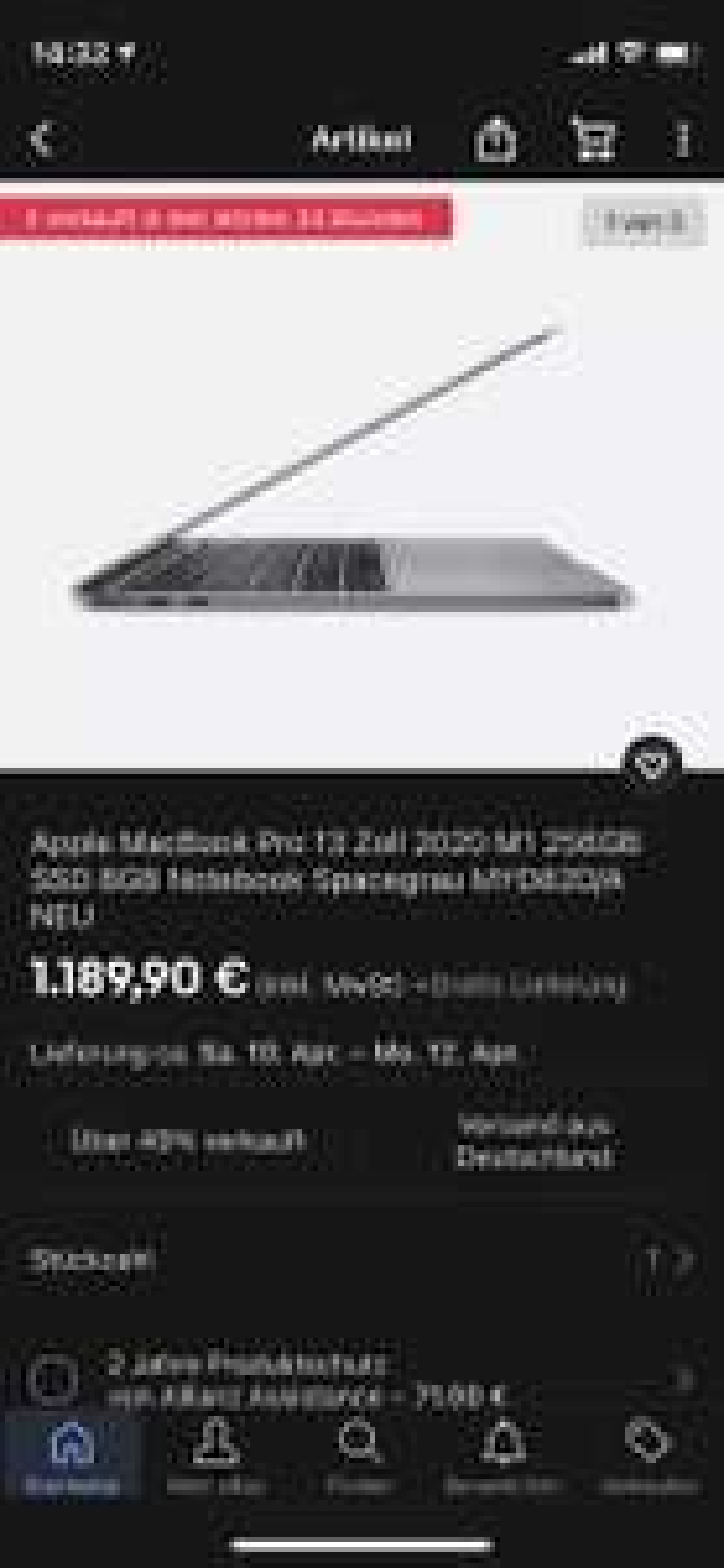 MacBook Pro 13,3 m1 Space grey 1189,90