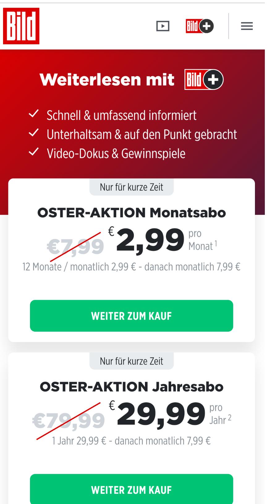Bild.de 12 Monate 62% günstiger mtl. kündbar - Osteraktion