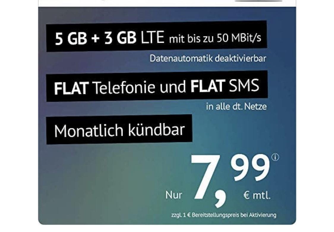 handyvertrag.de LTE All 5 GB + 3 GB - monatlich kündbar (Flat Internet 8 GB LTE mit max. 50 MBit/s