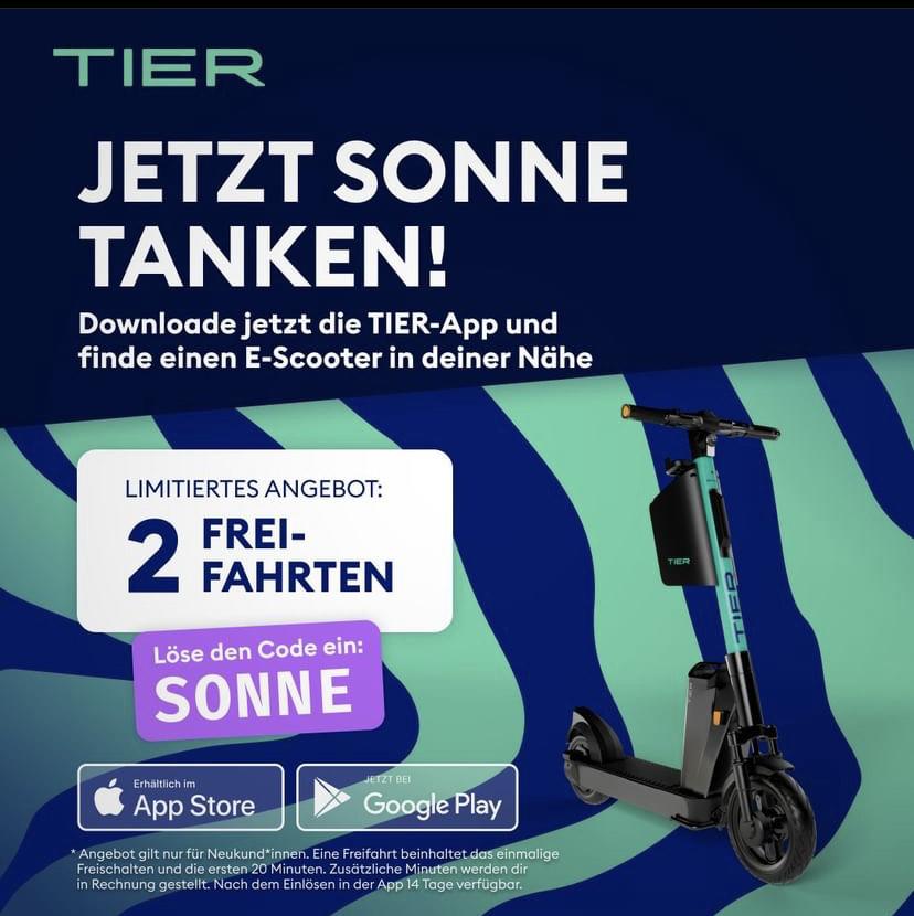 Tier E Scooter 2 Freifahrten mit Code 2TIER