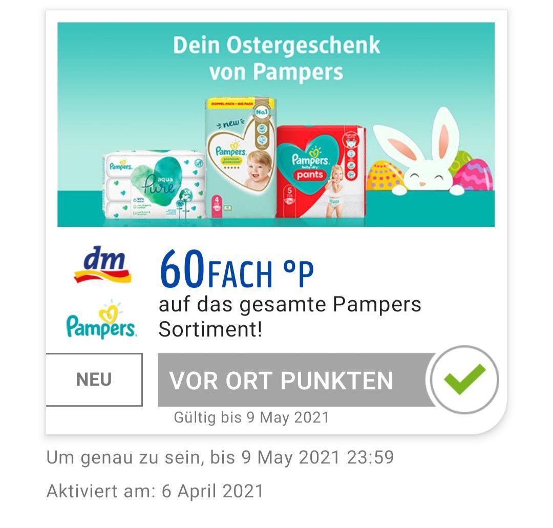 60Fach °P Payback auf das gesamte Pampers Sortiment bei DM bis 09.05. (personalisiert)
