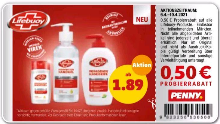 [Penny / Edeka] Lifebuoy Hand-Desinfektionsgel, Seife, Desinfektionstücher mit Coupon + marktguru ab 0,39€