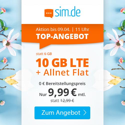 10GB LTE + Allnet Flat für 9,99€ pro Monat (o2-Netz, 24M Laufzeit, alternativ 3M Laufzeit für einmalig 19,99€ Aufpreis)