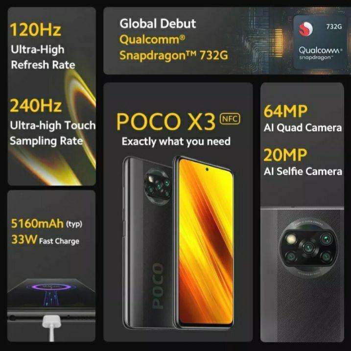 Xiaomi Smartphone POCO X3 6+128G NFC 5160mAh 6,67 Zoll Handy Globale Version