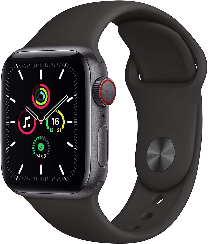 Apple Watch SE (GPS + Cellular, 40 mm) Aluminiumgehäuse Space Grau mit Sportarmband Schwarz