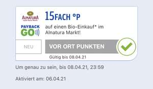 Payback Go Alnatura 15fach Punkte Coupon (personalisiert)