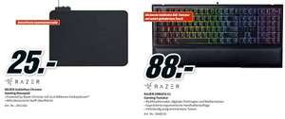 Razer Ornata V2 Tastatur Schwarz für 88,-€ (VSK-Frei) / RAZER Goliathus Chroma Mauspad für 25,-€
