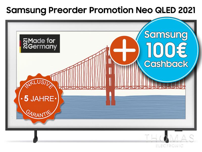 """Samsung TV The Frame 2021 55"""" Beispiel (alle Größen) / 5% Gutschein auf UVP + 100€ Samsung Cashback + insg. 5 Jahre Garantie"""
