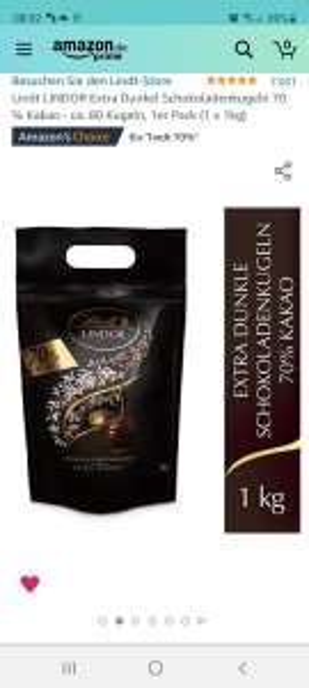 Lindt LINDOR Extra Dunkel Schokoladenkugeln 70 % Kakao - ca. 80 Kugeln, 1Kg Packung