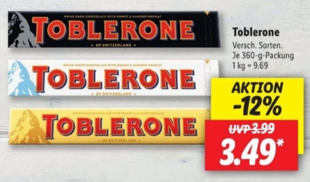 Toblerone verschiedene Sorten je 360 g Packung ab 15.04 Lidl