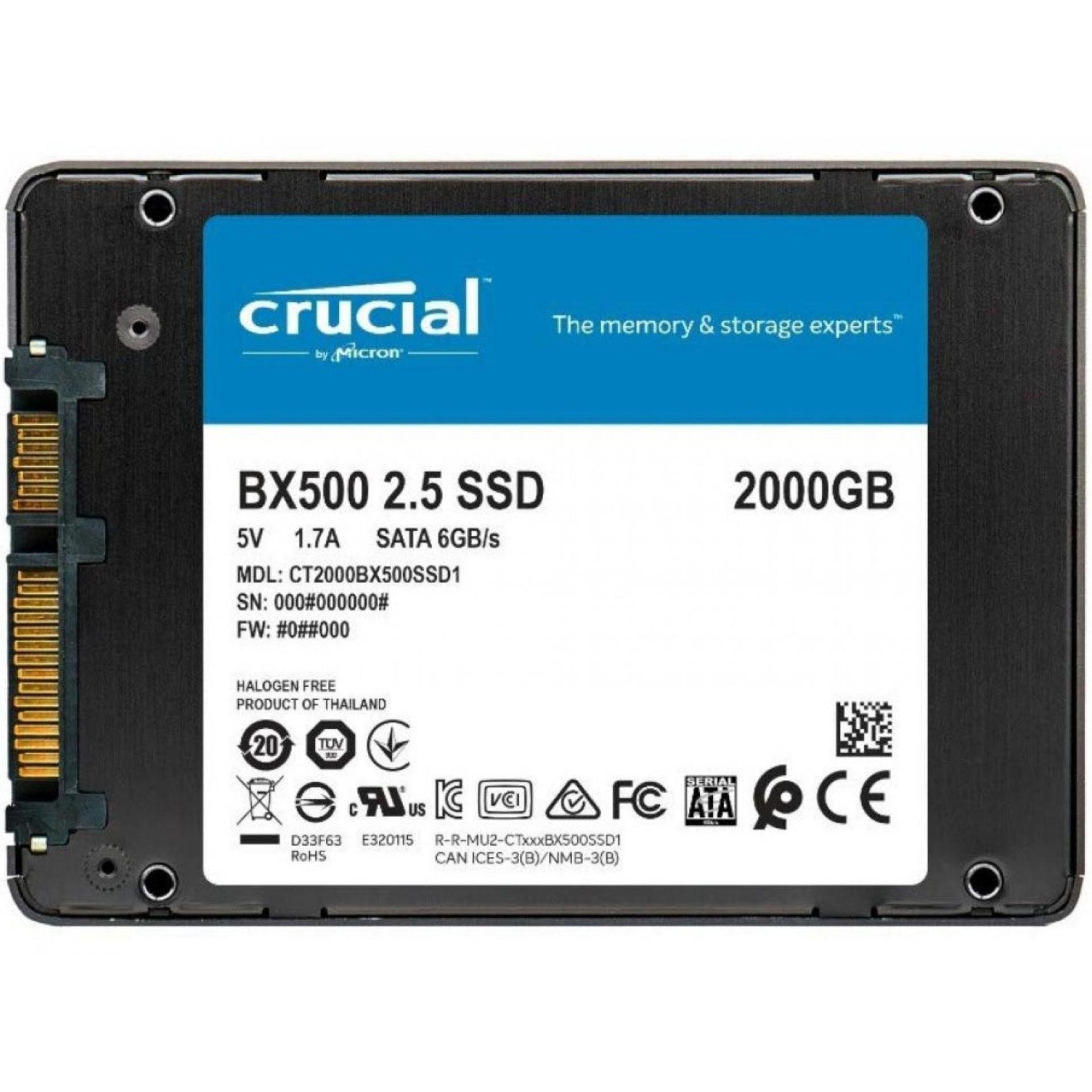CrucialBX500 2TB SSD (2.5 Zoll, 540MB/s Lesen, 500MB/s Schreiben, 3 Jahre Garantie)