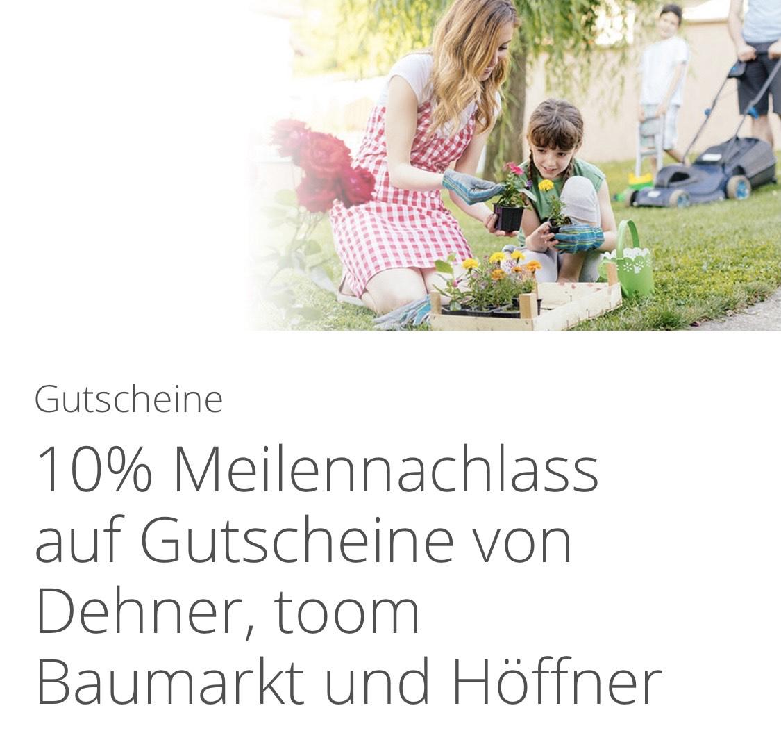 Miles&More Miles and More Cadooz 10% Meilennachlass auf Gutscheine von Toom, Dehner, Höffner