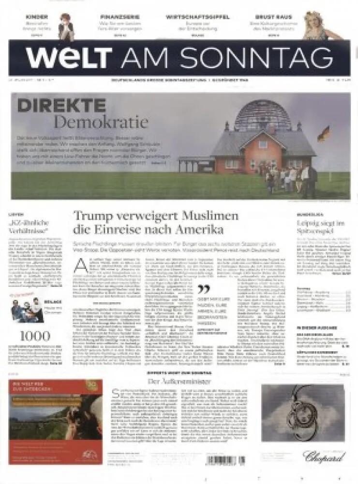 Print Sonntagszeitung: Welt am Sonntag für 249,60€ mit 170€ Verrechnungsscheck als Prämie