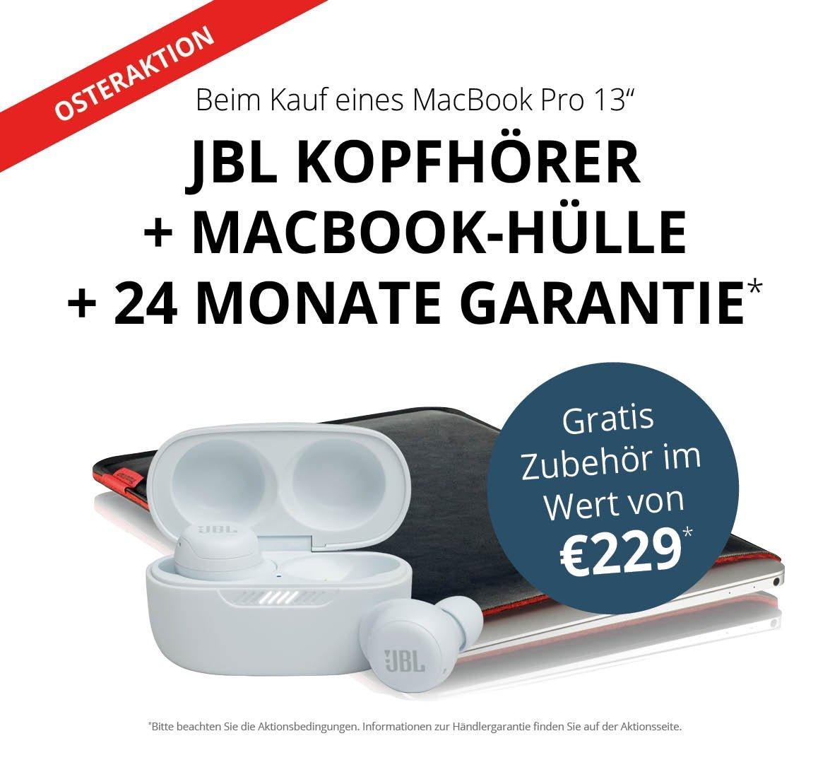 """MacBook Pro M1 13"""" + JBL Live Free Bluetooth Kopfhörer + MacBook-Hülle + 24 Monate Garantieerweiterung"""
