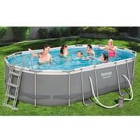 Bestway Power Steel Frame Pool Komplett-Set, oval, 488x305x107cm, 56448