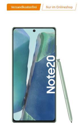 Samsung Galaxy Note20 256GB für 1€ einmalig und 29,99€ monatlich im O2 Free M 20GB LTE Max + 20€ Cashback + 100€ Samsung Pay Guthaben