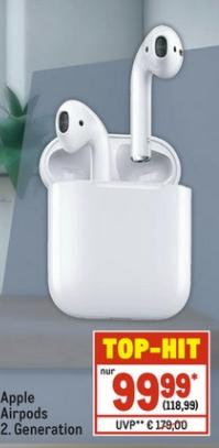 [Metro ab 15.04-Nur mit Metrokarte] Apple AirPods MV7N2ZM/A, 2. Generation,Bluetooth für 108,99€