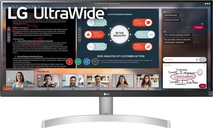 """LG 29WN600-W 29"""" UltraWide 21:9 (IPS, HDR10, 2.560x1.080, 5 ms, 75 Hz, AMD FreeSync, adaptive Sync, HDMI, DisplayPort, Lautsprecher, VESA)"""