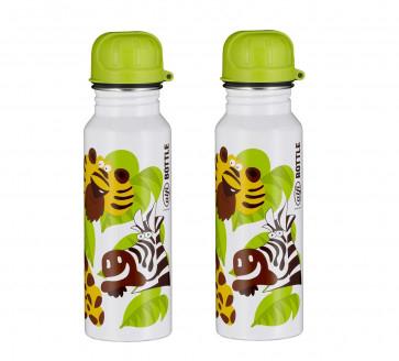 2 x alfi Edelstahl Trinkflasche 600ml ( Jungle weiß, absolut dicht, spülmaschinenfest, BPA-Frei ) Stückpreis 4,99€