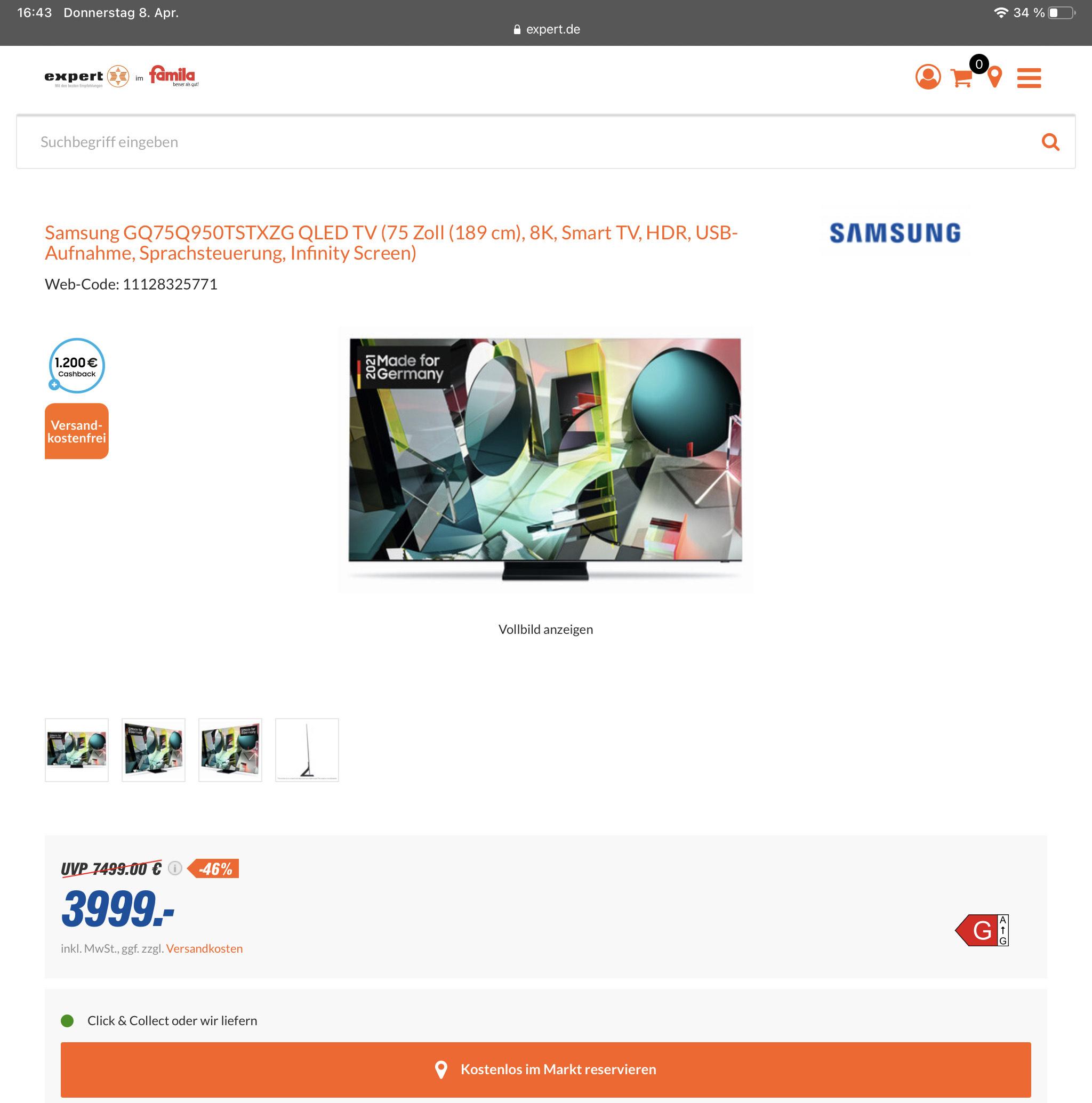 Lokal - Bielefeld - Samsung GQ75Q950TSTXZG - eff. 2799 €
