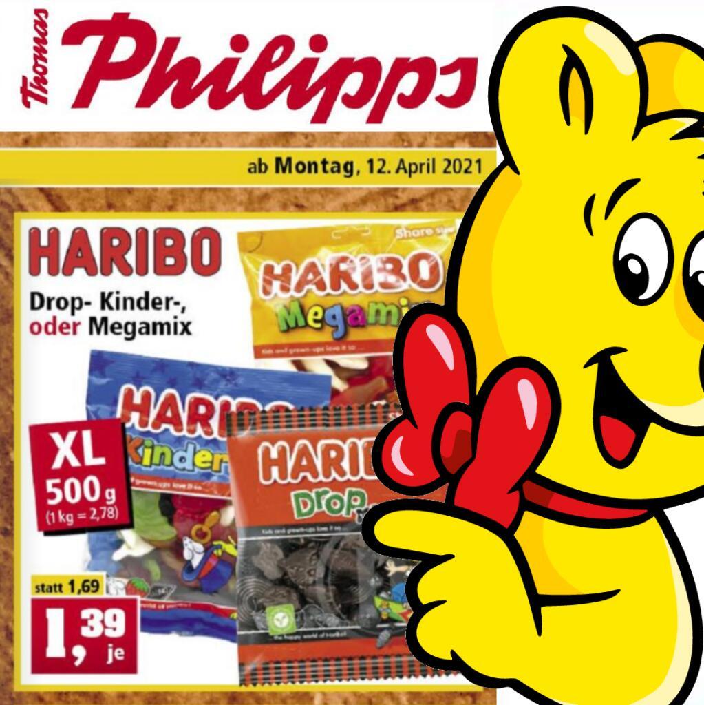 500g HARIBO (2,78€/kg) Drop-, Kinder- oder Megamix XL Beutel