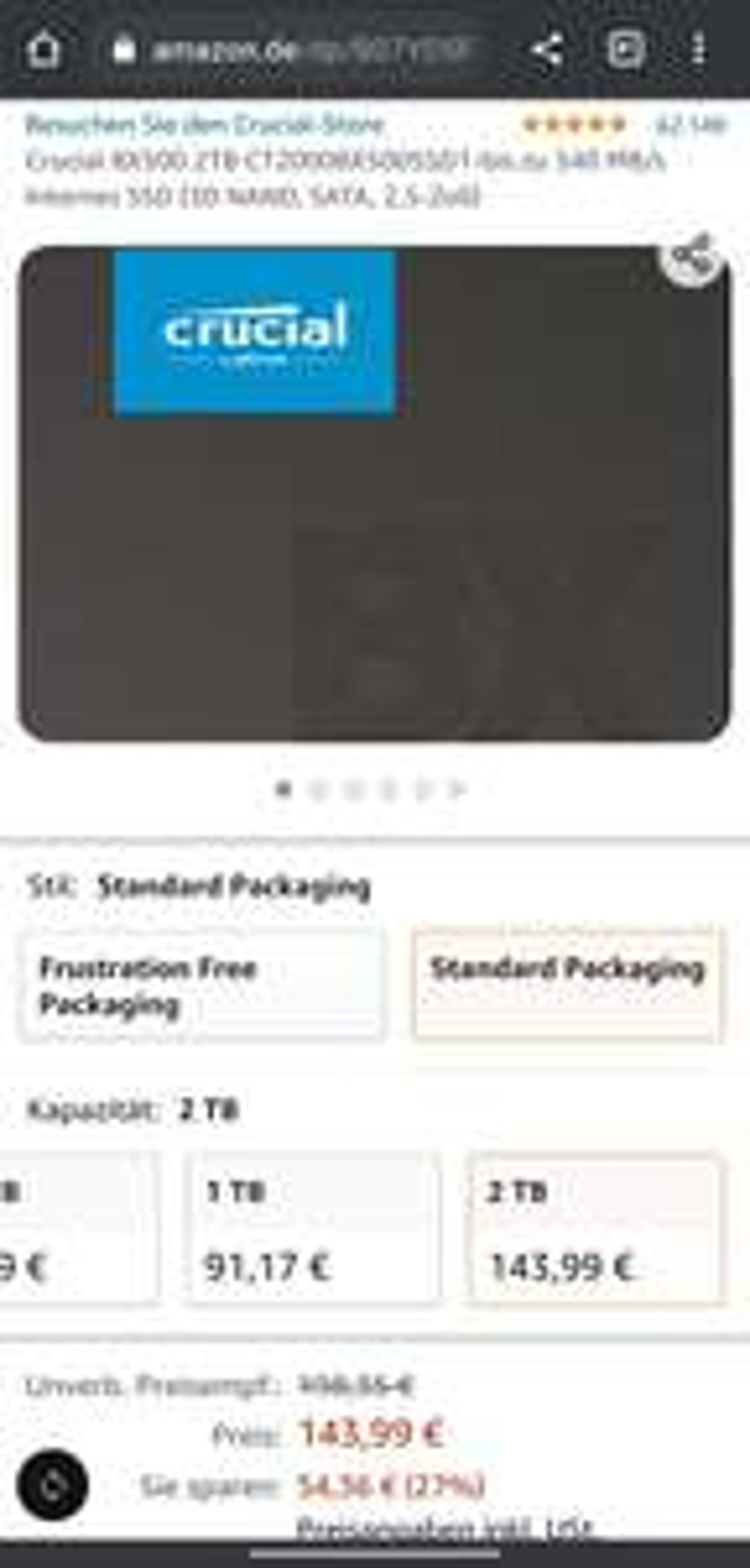 Crucial BX500 2TB CT2000BX500SSD1-bis zu 540 MB/s Internes SSD (3D NAND, SATA, 2,5-Zoll)